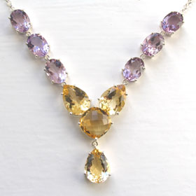 Citrine and Amethyst Necklace Lettie