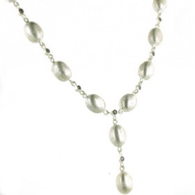 Sterling Silver Oval Bead Necklace