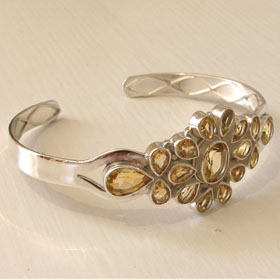 Citrine and Sterling Silver Bangle Carmen