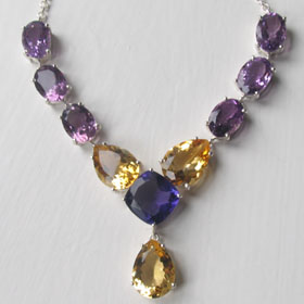 Amethyst and Citrine Necklace Ruth