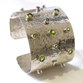 Sterling Silver Cuff Bracelet with Peridots
