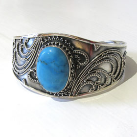 Sterling Silver Turquoise Bangle Tatiana