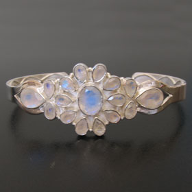 Rainbow Moonstone Bangle in Sterling Silver Carmen