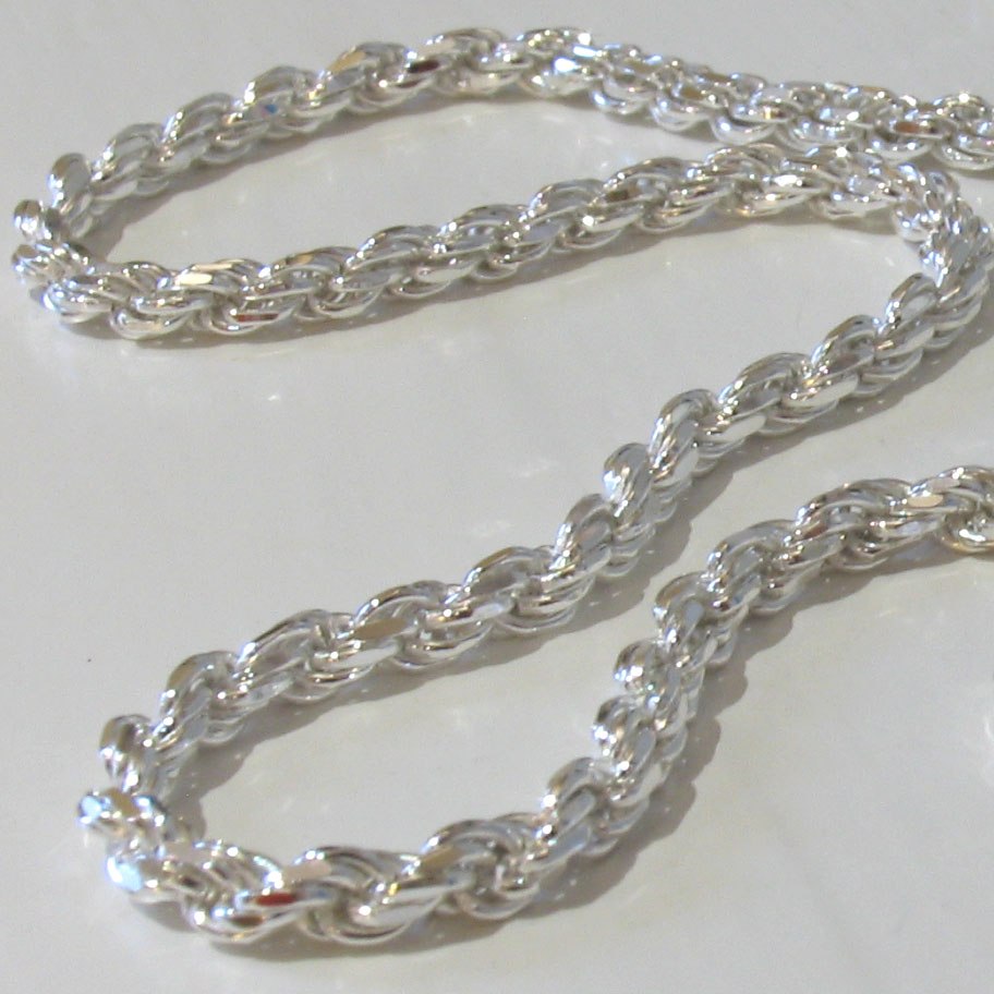 4MM Solid 925 Sterling Silver DIAMOND CUT ROPE CHAIN Bracelet or Necklace Italy