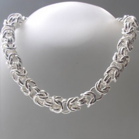 Chunky Sterling Silver Byzantine Necklace