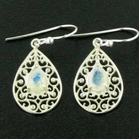 Faceted Rainbow Moonstone Droplet Earrings Rebecca