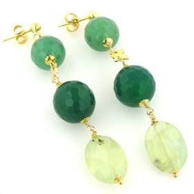 Aventurine, Green Agate and Prehenite Earrings Louise