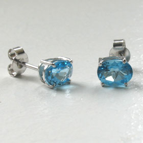 Swiss Blue Topaz Stud Earrings Mayla